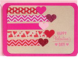 Washi Tape & Glitter Hearts Card